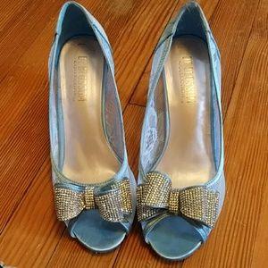 Blue Lace Bow Peep Toe
